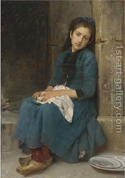 Pensive Girl (Innocence) by Leon-Jean-Basile Perrault - Reproduction Oil Painting