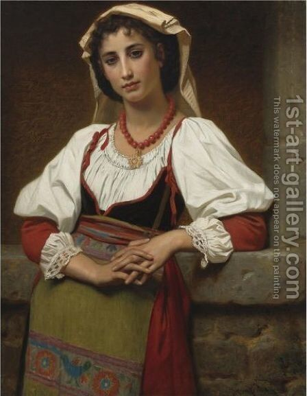 The Neapolitan Girl by Hugues Merle - Reproduction Oil Painting