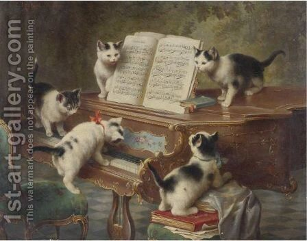 The Kittens' Recital by Carl Reichert - Reproduction Oil Painting