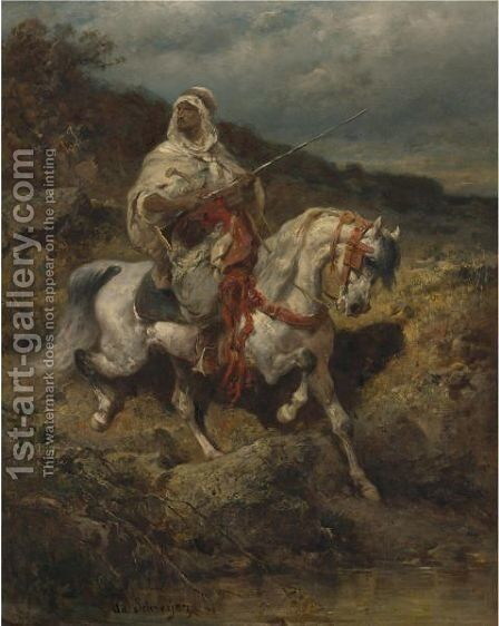 Mounted Arab by Adolf Schreyer - Reproduction Oil Painting