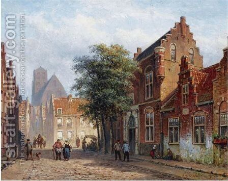 A Sunny Street In A Dutch Town by Eduard Alexander Hilverdink - Reproduction Oil Painting