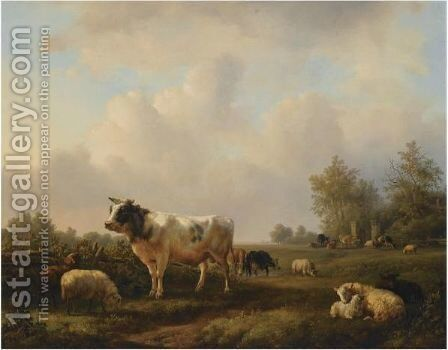 Cattle In A Summer Landscape by Jan Bedijs Tom - Reproduction Oil Painting