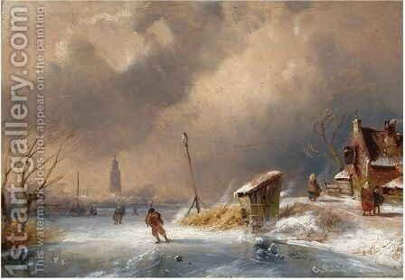 Skaters On A Cold Winter Day by Charles Henri Leickert - Reproduction Oil Painting