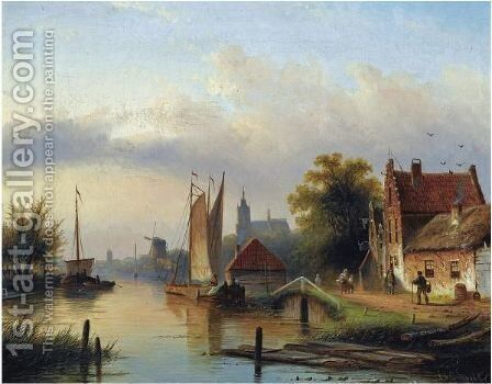 A Town By The River by Jan Jacob Coenraad Spohler - Reproduction Oil Painting