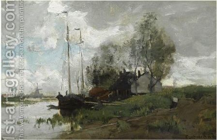 A Canal Near Zwijndrecht by Theophile De Bock - Reproduction Oil Painting