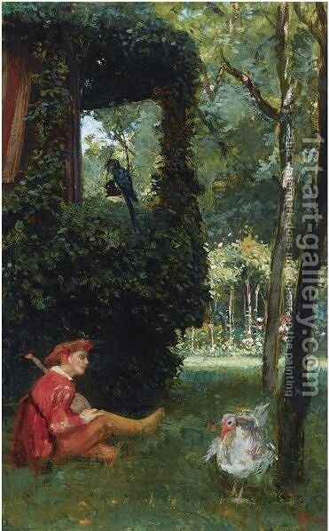 A Jester Playing The Lute In A Garden by August Allebé - Reproduction Oil Painting