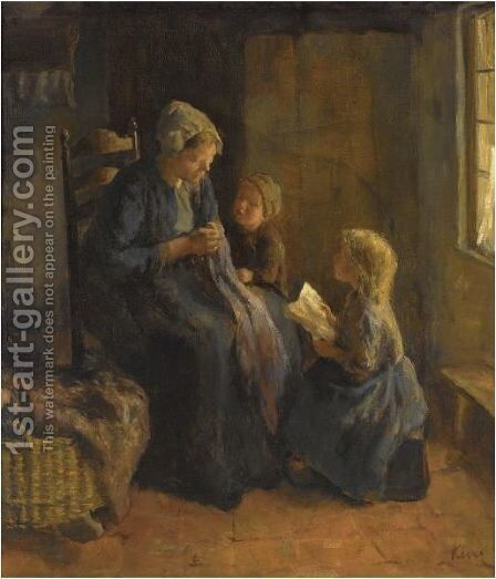 Watching The Needlework by Jacob Simon Hendrik Kever - Reproduction Oil Painting