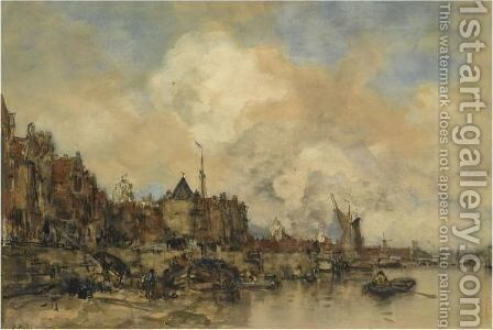 A View Of The Buitenkant With The Schreierstoren, Amsterdam by Jacob Henricus Maris - Reproduction Oil Painting