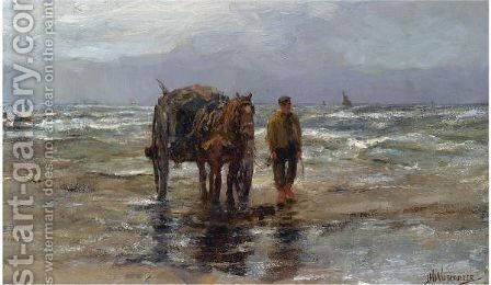 A Shell Fisher On The Beach by Jan Hillebrand Wijsmuller - Reproduction Oil Painting