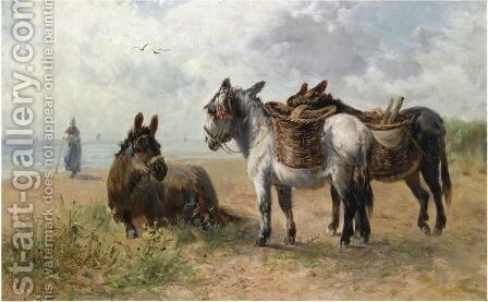 Donkeys On The Beach by Henry Schouten - Reproduction Oil Painting