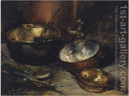 A Still Life With Copper Pans by Antoine Vollon - Reproduction Oil Painting