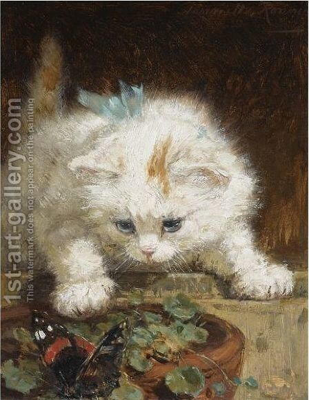 A Kitten Chasing A Butterfly by Henriette Ronner-Knip - Reproduction Oil Painting