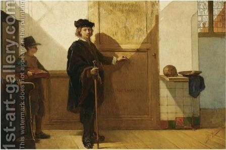 Rembrandt On His Way To The Anatomical Lesson Of Dr. Tulp by Christoffel Bisschop - Reproduction Oil Painting
