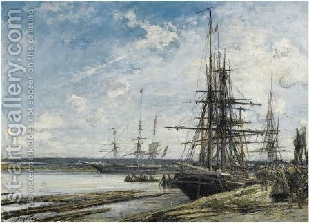 Moored Sailing Vessels On The River Maas Near Rotterdam by Johan Barthold Jongkind - Reproduction Oil Painting