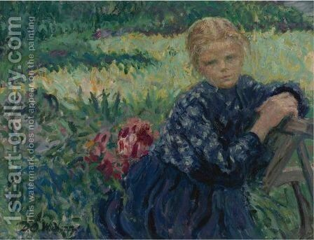 Girl Seated In A Garden by David Osipovich Widhopff - Reproduction Oil Painting
