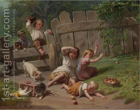 The Chase by Benjamin Franklin Reinhart - Reproduction Oil Painting