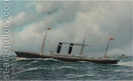 The Steamship 'New York' by Antonio Jacobsen - Reproduction Oil Painting