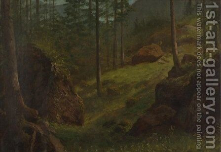 Wooded Hillside by Albert Bierstadt - Reproduction Oil Painting
