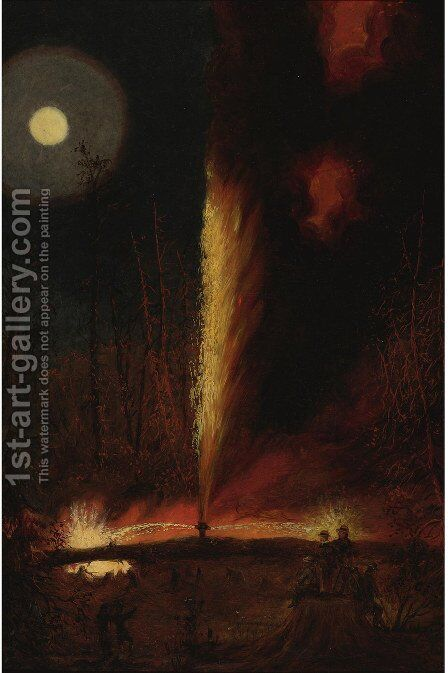 First Oil Well Burning by James Hamilton - Reproduction Oil Painting