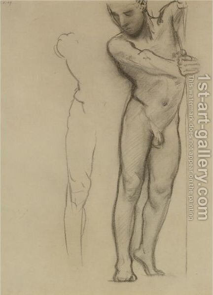 Study For A Male Nude by Sargent - Reproduction Oil Painting
