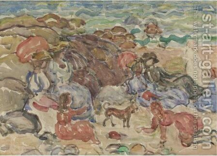 Figures In A Cove by Maurice Brazil Prendergast - Reproduction Oil Painting