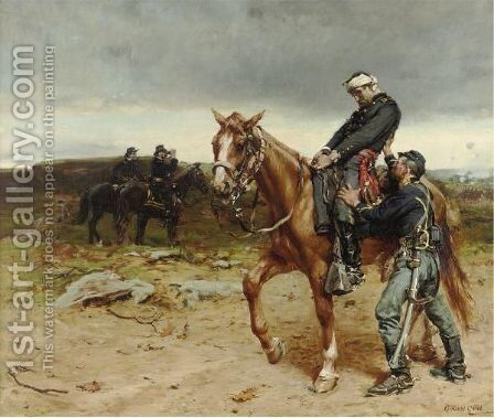 Cold Comfort On The Outpost by Edward Percy Moran - Reproduction Oil Painting