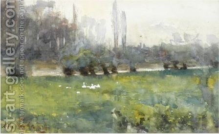 Swans In A Meadow by Arthur Melville - Reproduction Oil Painting