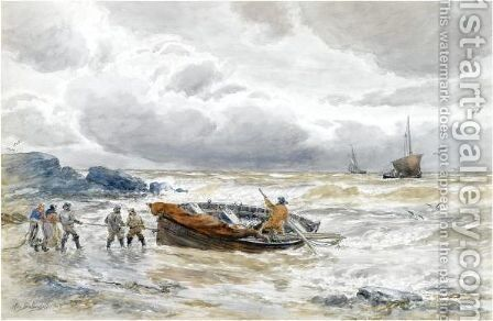 Bringing In The Catch With A Cottage In The Distance by Alexander Ballingall - Reproduction Oil Painting