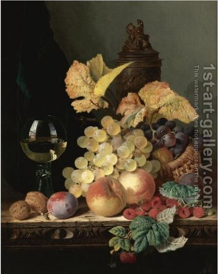 Still Life With Peaches, Plums, Grapes And Walnuts On A Carved Table With A Wine Glass by Edward Ladell - Reproduction Oil Painting
