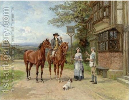 Outside The White Swan Inn by Heywood Hardy - Reproduction Oil Painting
