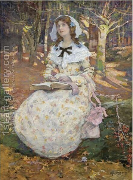 The Open Book by Elizabeth Adela Forbes - Reproduction Oil Painting