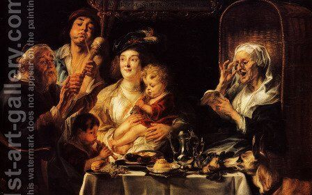 As The Old Sang The Young Play Pipes by Jacob Jordaens - Reproduction Oil Painting