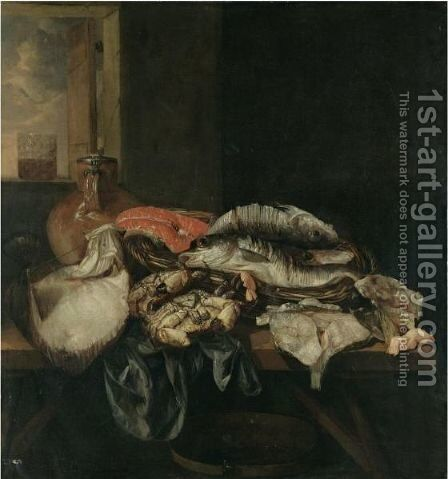 Still Life With Various Fish And Crustaceans On A Table Beneath An Open Window by Abraham Van Beijeren - Reproduction Oil Painting