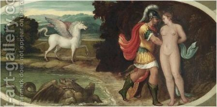 Perseus And Andromeda by Andrea Meldolla - Reproduction Oil Painting