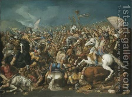 A Classical Battle, Probably Depicting The Defeat Of Hannibal By Scipio Africanus Major (Circa 235-183 B.C.) by Bernardino Cesari - Reproduction Oil Painting