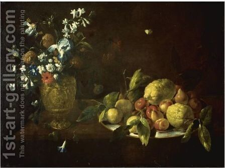 Still Life With Fruit Piled High On A Plate Beside A Bronze Urn Filled With Flowers by Giovanni Stanchi - Reproduction Oil Painting