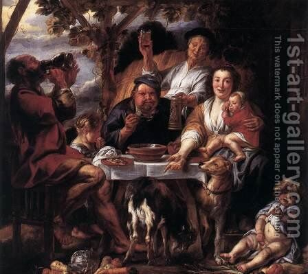 Eating Man by Jacob Jordaens - Reproduction Oil Painting