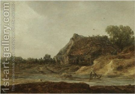 Travellers Passing A Peasant Settlement by Jan van Goyen - Reproduction Oil Painting