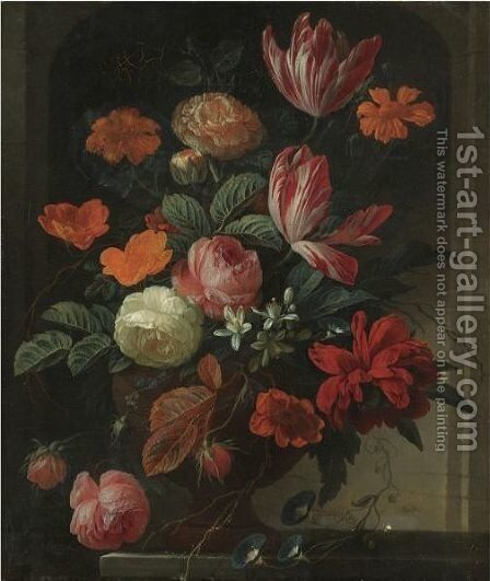 Still Life With Flowers In An Urn On A Stone Ledge by Elias van den Broeck - Reproduction Oil Painting