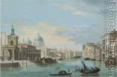 Venice, A View Of The Entrance To The Grand Canal With The Punta Della Dogana by Giuseppe Bernardino Bison - Reproduction Oil Painting