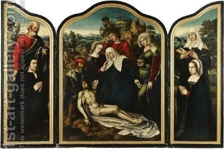 A Triptych Of The Lamentation by Ambrosius Benson - Reproduction Oil Painting