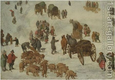 Studies Of A Pig Market by Jan, the Younger Brueghel - Reproduction Oil Painting