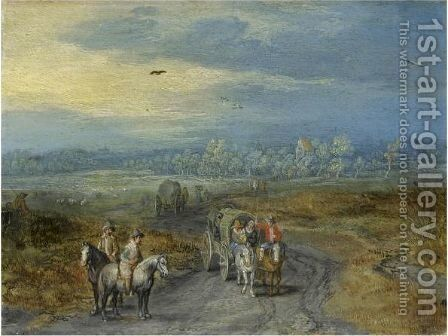 Travellers On A Country Road With A Village Beyond by Jan The Elder Brueghel - Reproduction Oil Painting