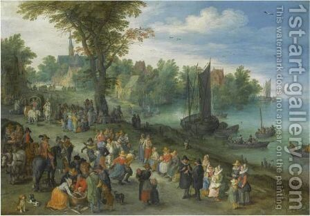 The Edge Of A Village With Figures Dancing On The Bank Of A River And A Fish-Seller by Jan The Elder Brueghel - Reproduction Oil Painting