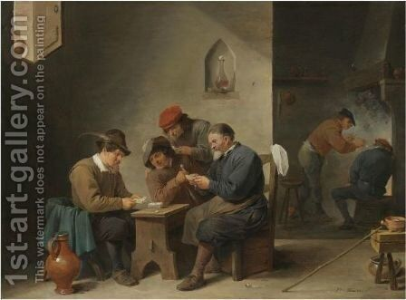 A Tavern Interior With Peasants Playing Cards by David The Younger Teniers - Reproduction Oil Painting