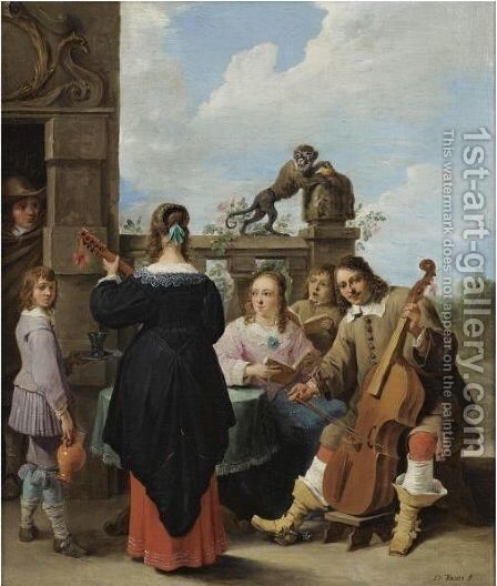 A Family Concert On The Terrace Of A Country House A Self Portrait Of The Artist With His Family by David The Younger Teniers - Reproduction Oil Painting