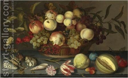 Still Life Of Peaches, Apples, Grapes, Cherries And Redcurrants In A Basket by Balthasar Van Der Ast - Reproduction Oil Painting