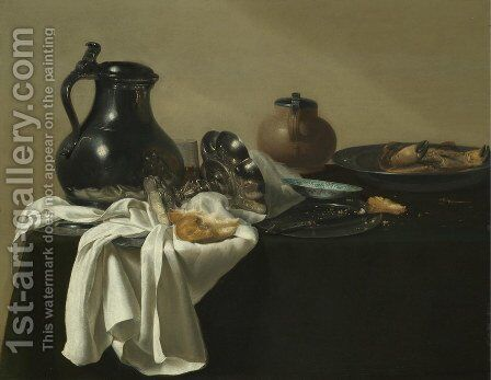 Still Life With A Pewter Jug, A Tazza On Its Side, A Bread Roll, A Crab In A Pewter Dish by Jan Jansz. den Uyl - Reproduction Oil Painting