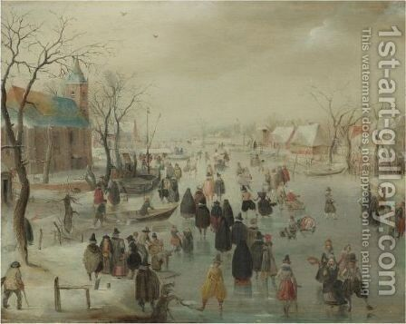 An Extensive River Landscape With Numerous Skaters Before A Church, A Village Beyond by Hendrick Avercamp - Reproduction Oil Painting