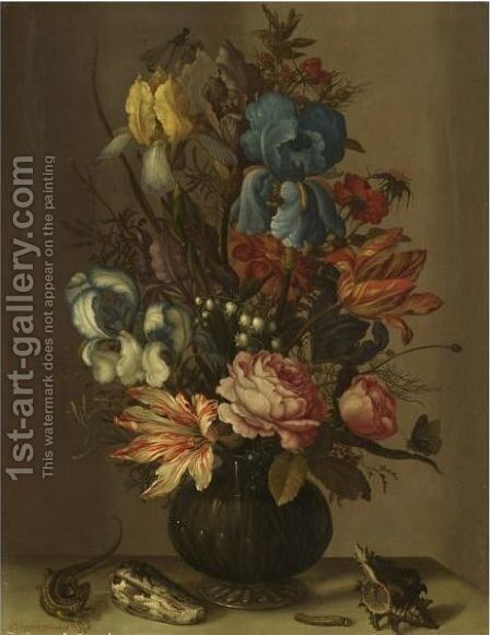 Still Life Of Roses, Tulips, Irises, French Marigold, And Lily Of The Valley In A Glass Vase by Balthasar Van Der Ast - Reproduction Oil Painting